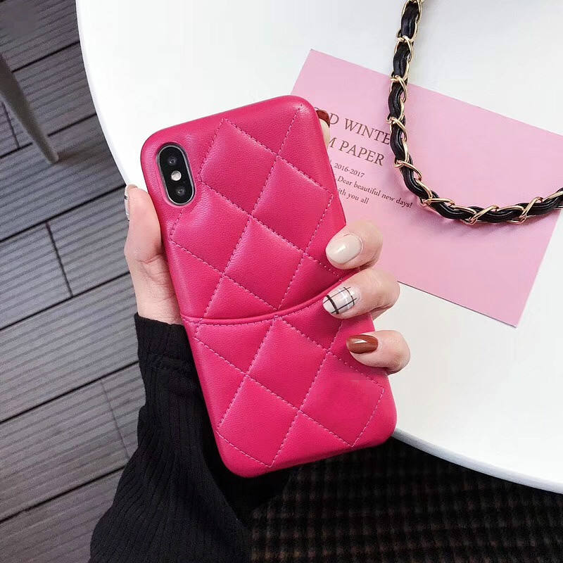Wholesale Grid diamond pattern genuine sheepskin casing mobile phone with card holder