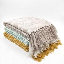 Woven Acrylic Stripes Bamboo Throw Blanket for Living