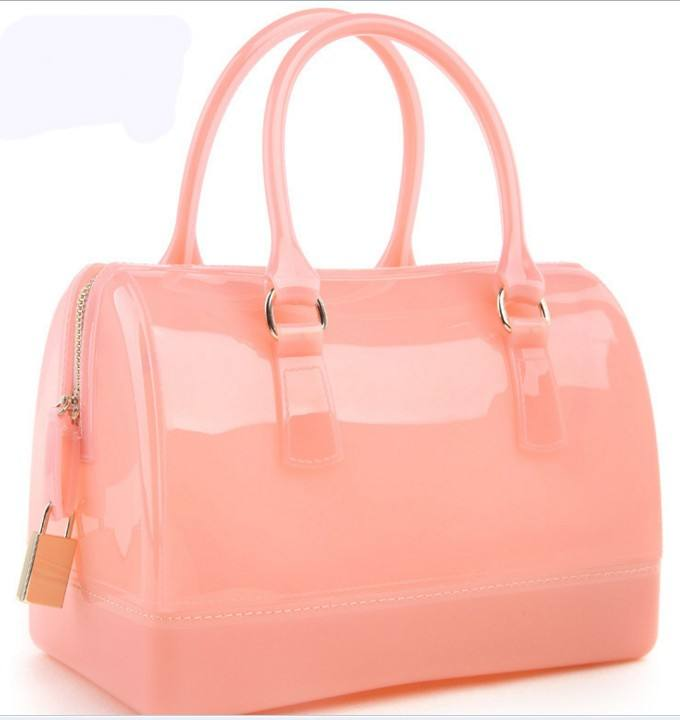 Womens Silicone Bags Candy Color Satchel Pillow Tote Shiny Jelly Handbags Purses