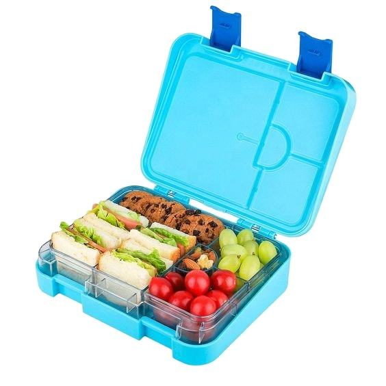Chinese supplier hot item BPA free food grade plastic 6 compartment customized accept tiffin Kids Bento lunch box