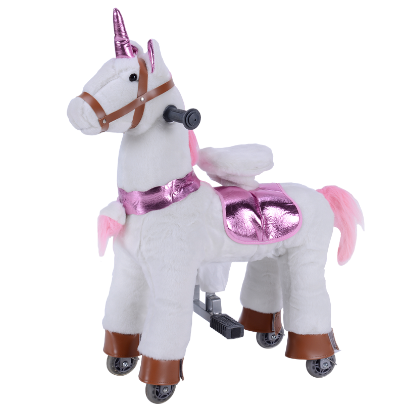 2020 Ponyfunny new unicorn plush toy electric rides ride on toys Happy Trails Plush Walking Horses with Wheels and Foot