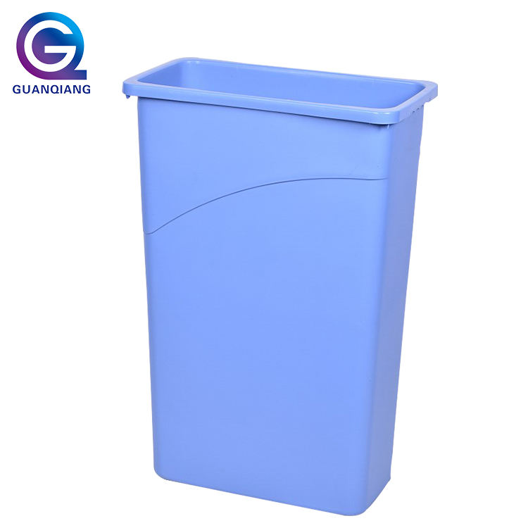 Outdoor 87L plastic garbage rubbish bin blue dustbin with grey lid top