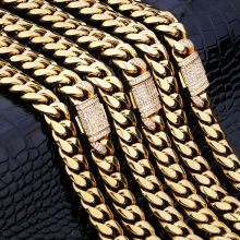 KRKC CZ Iced Out Zircon Buckle 14K 18K Gold Plated Miami Stainless Steel Cuban Link Chain Necklace Set Men Jewelry Cuban Link