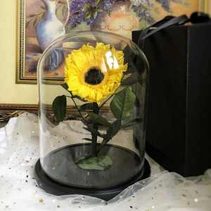 New hot product preserved sunflower in glass dome as Christmas decoration