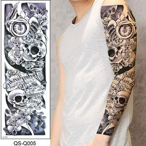 Factory RTS Waterproof Temporary Tattoo Sticker Skull Head Rose Clock Full Arm Flash Lady Tattoo Sleeve Large Size For Men Women