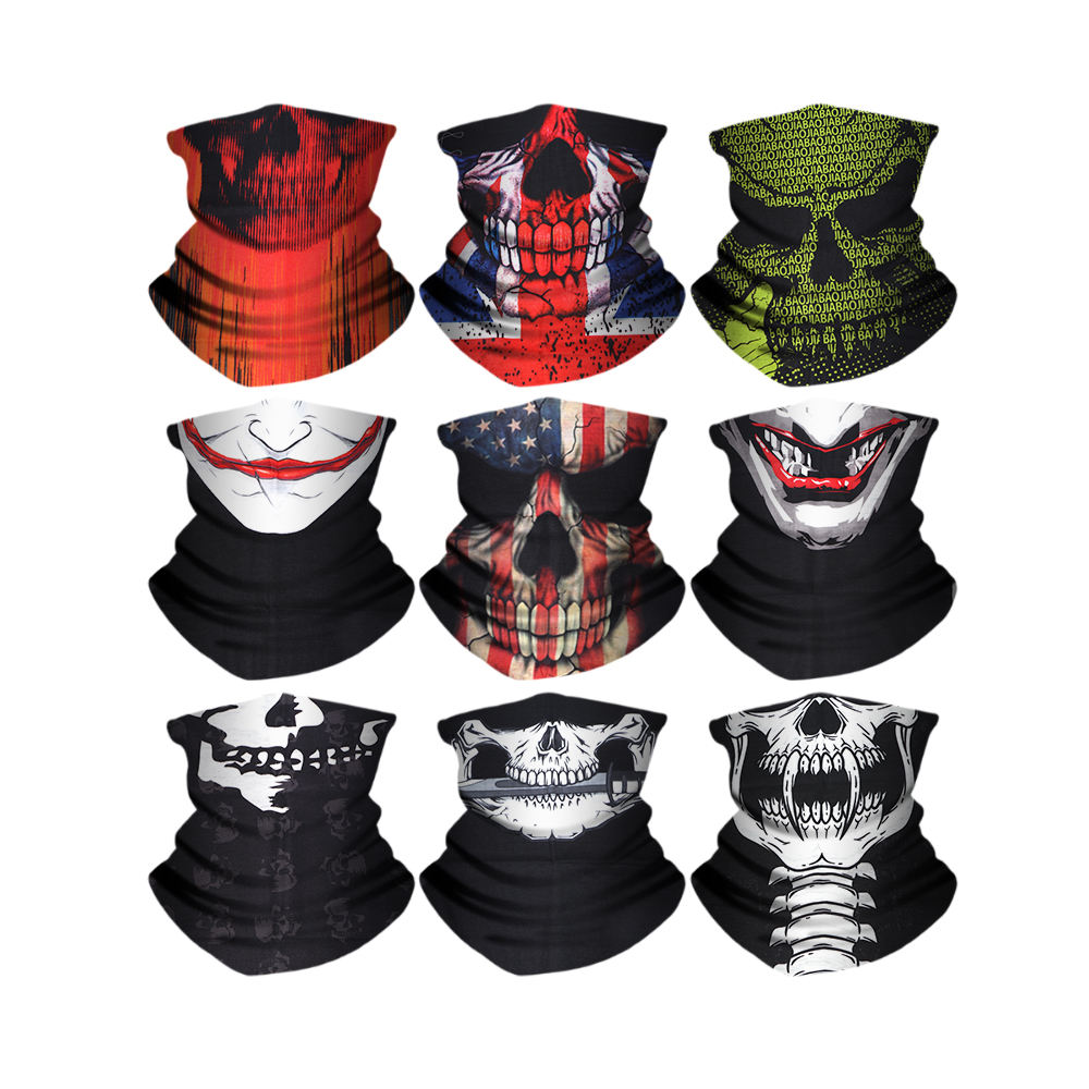 9 pieces/pack mixed Outdoor Sports Multifunctional face mask scarf Headwear polyester Bandana headband tube neck