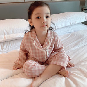 wholesale plaid print children sleepwear fashion long sleeve pink plaid children pajamas