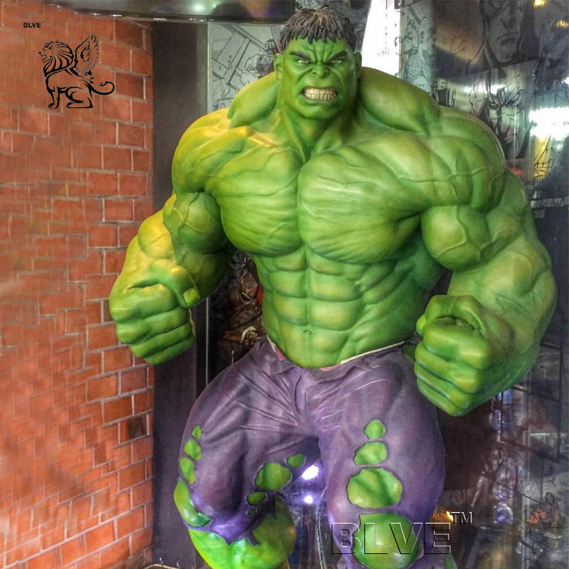 Indoor Decor Famous Superhero Movie Action Figures Muscle Man Fiberglass Life Size Hulk Statue Resin Sculpture