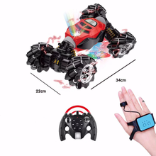 RC 2.4ghz 4wd Hand Watch Remote Control Transforming Twist Gesture Sensor Double Driving Climbing Stunt Toy Car