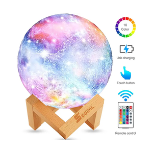 Top selling Amazon 3D print moon lamp creative gift night light 16 Color USB LED 3D Star Light with customize size