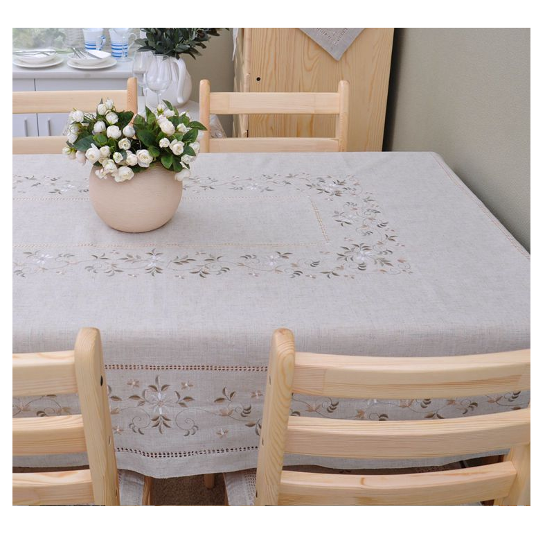 nature cotton linen embroidery tablecloth
