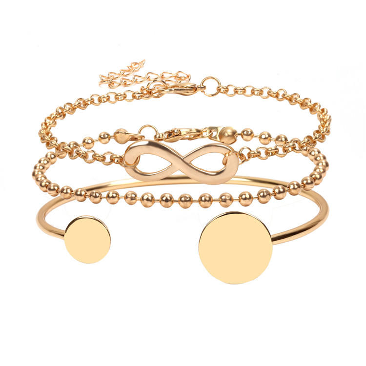 Ebay Hot Selling Beste Vriend Vriendschap Dubbele Ronde Schijf Open Bangle Luck 8 Link Chain Armband Gold Infinity Bedelarmband
