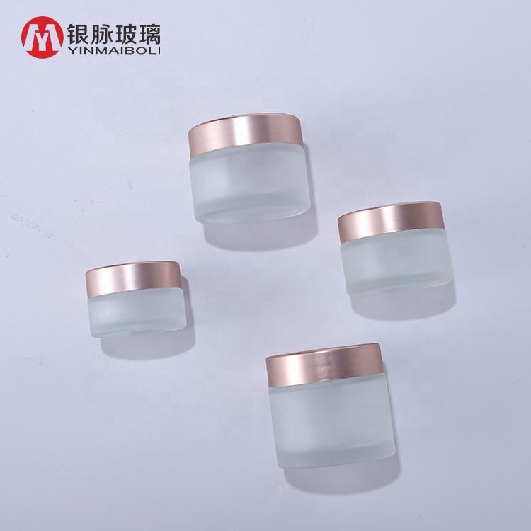 10ml 15ml 20ml 30ml 50ml 100ml recycled clear matte glass cosmetic jar glass jar with rose gold cap for face body cream