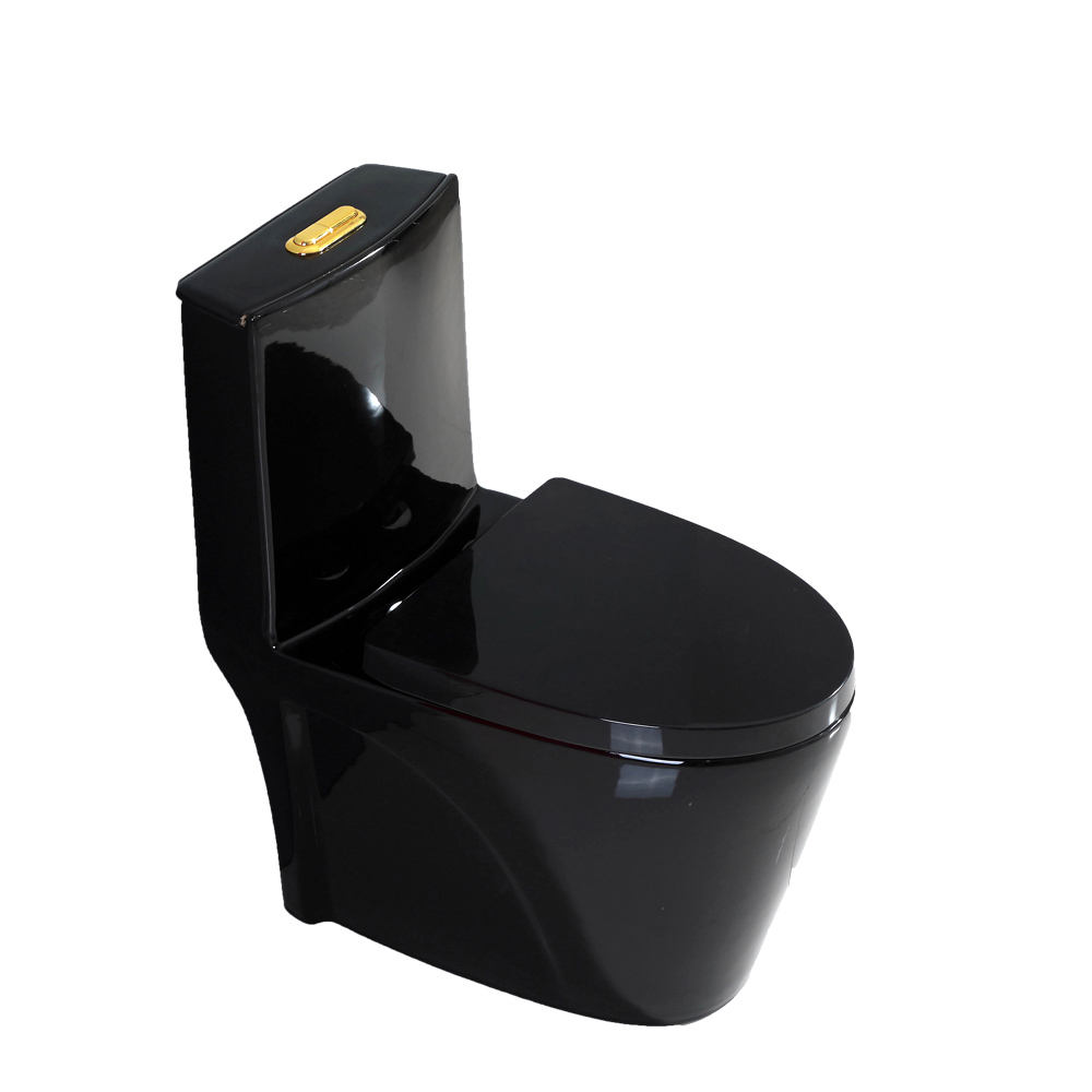 Colorful bathroom wc ceramic sanitary wares one piece black color toilet