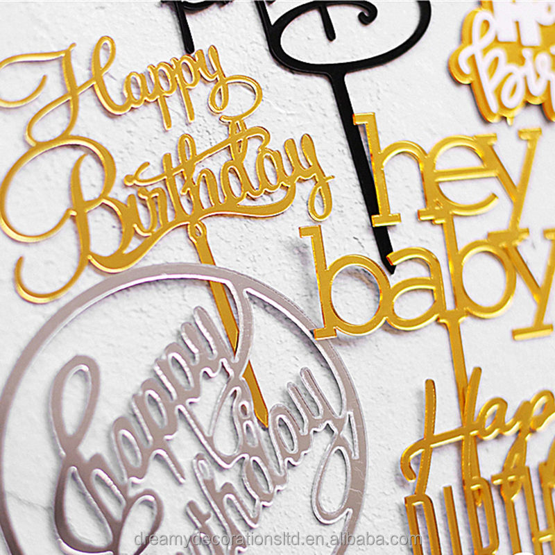 Gold Mirror Acrylic Happy Birthday Cake Topper Silver Mirror Happy Birthday Photos for Decoration