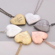 Handmade Simple Design Heart Pendant I love you Love Photo Box Necklace Wholesale