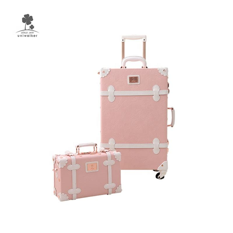 Retail Pu Women Vintage Suitcase Sets Cute Hand Carry-On Luggage With 360 Degree Spinner Wheel