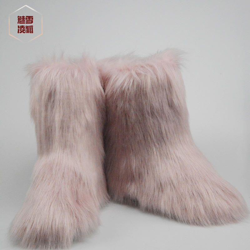 White Shoes Winter Snow Boots Woman Faux Fox Fur Ankle Boots Womens Warm Casual Shoes Female Black Snowboots Fur