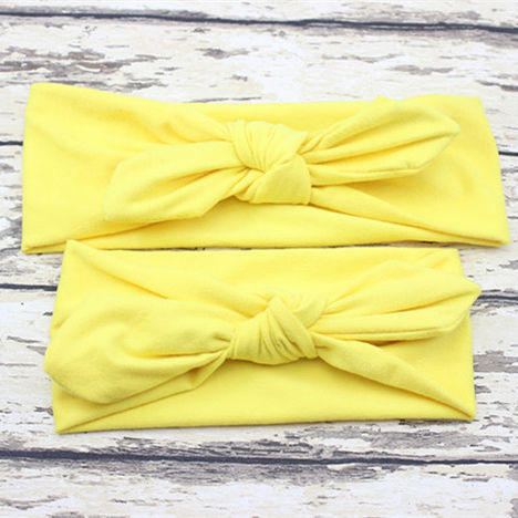 Indiana cloth hair bands twisted top knot bow wide yellow blank mommy and me make up headband