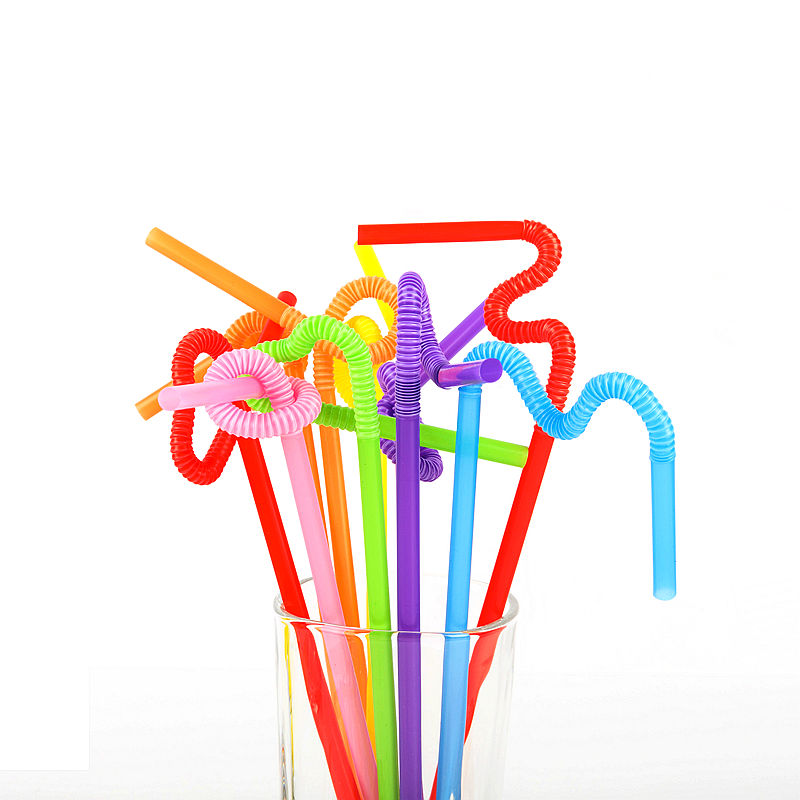 Plastic assorted colors artistic long biodegradable drinking straw