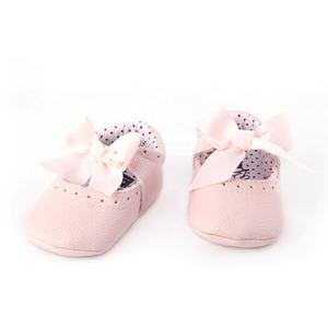 Fashion Bowknot Leather Shoes Soft Sole Baby Moccasins For Girl