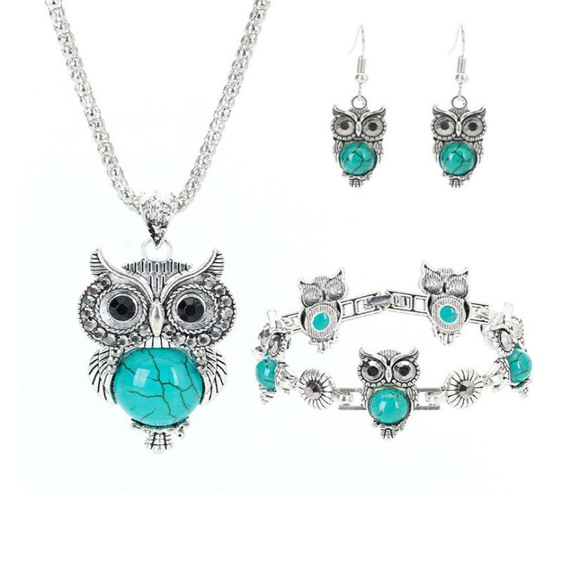 Wholesale Personalized Pendant Three-piece Set Owl Turquoise Jewelry