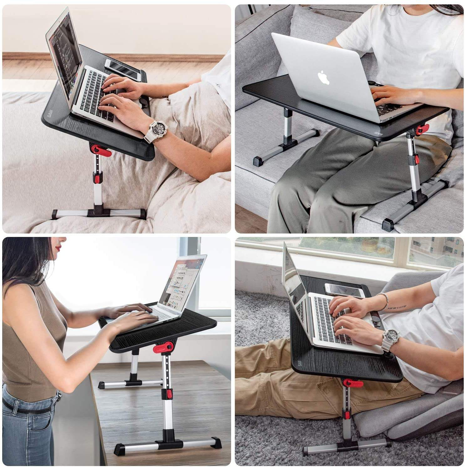 Wideny Foldable Aluminum Laptop Computer Stand with Ajustable Legs for Laptop Bed Tray Table Standing Breakfast Reading Desk