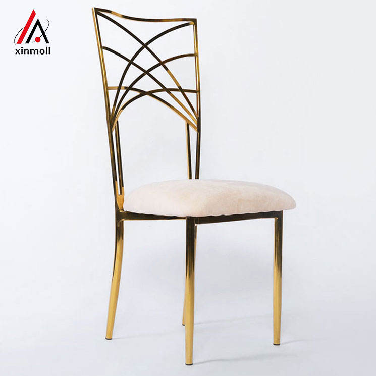 gold metal event wedding chairs for bride reception decoration party