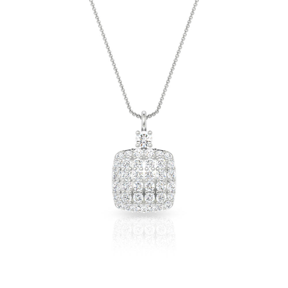 Solitaire Square Cluster Pendant Necklace,Round Diamond Charm Pendant, Pave Set Diamond Geometric Necklace Teen