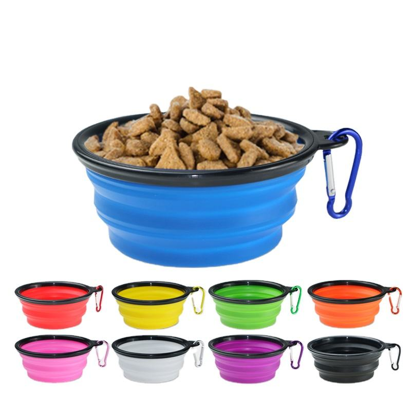 Portable personalized Collapsable Water Bowls for Cats Dogs silicone collapsible pet bowl