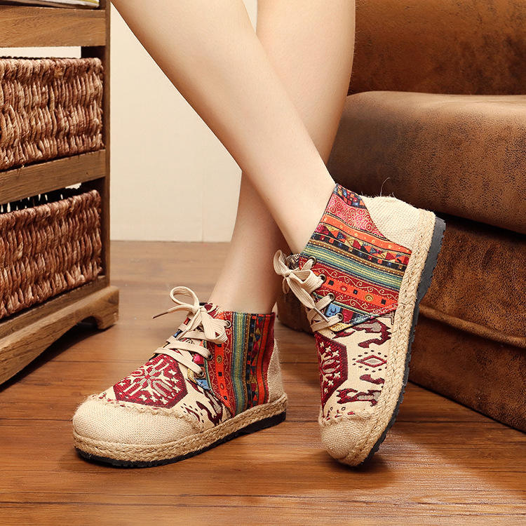 women moisture absorbing embroidered linen shoes ethnic flavor fisherman loafers amazing linen sandals