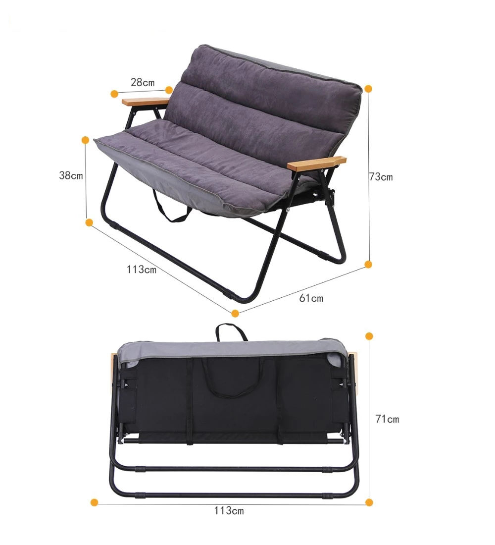Graphic Customization [ Double Bench Beach Chair ] Beach Lounge Chair Custom Foldable Outdoor Stool Double Camping Bench Folding Beach Lounge Chair With Metal Frame