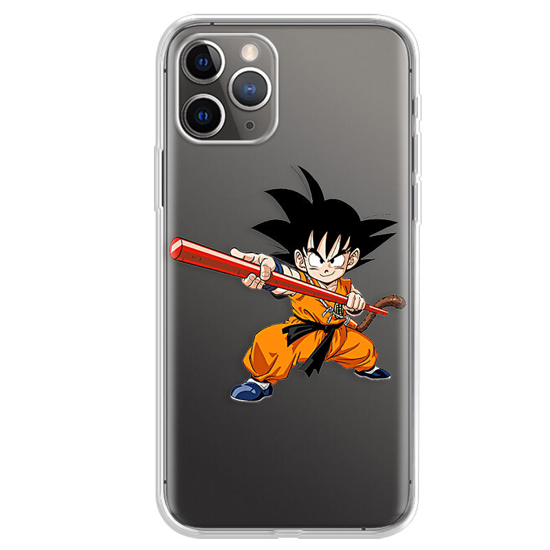Custom Print Hollow Transparante Hoge Clear Silicon Telefoon Case Voor Iphone 11 Pro Xr Xs Een Stuk Dragon Ball Terug cover