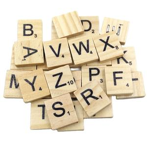 Educational Wooden Toys Wood Digital Alphabet S crabble Tiles Wood Letters A to Z alphabet puzzle toy