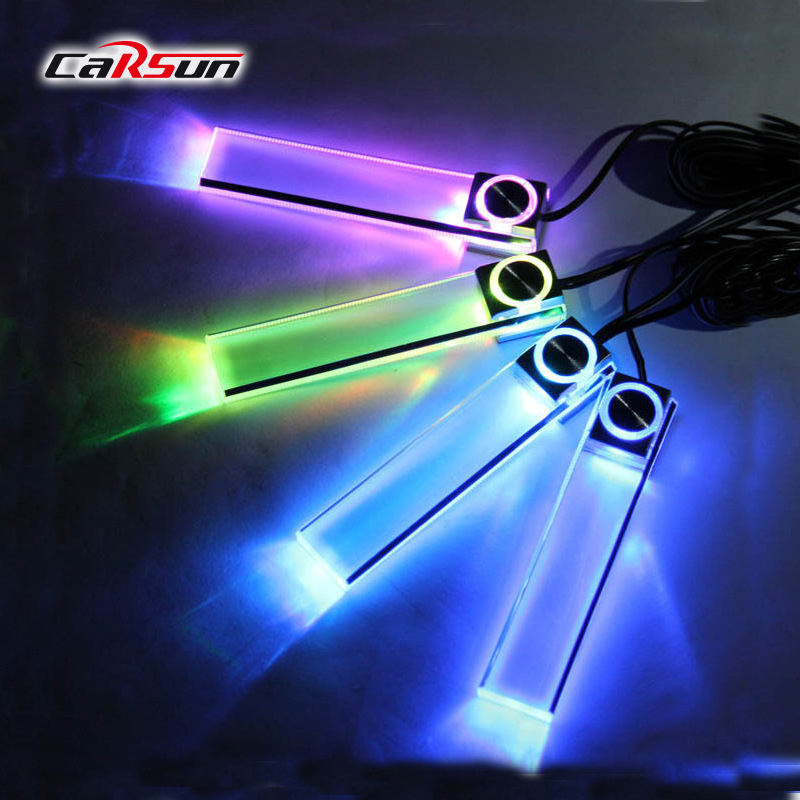 4Pcs Atmosphere Lamp Decoration Car LED Floor Foot Light Ambient Car Interior Auto Backlight Auto Accessorie Atmosphere Lamp