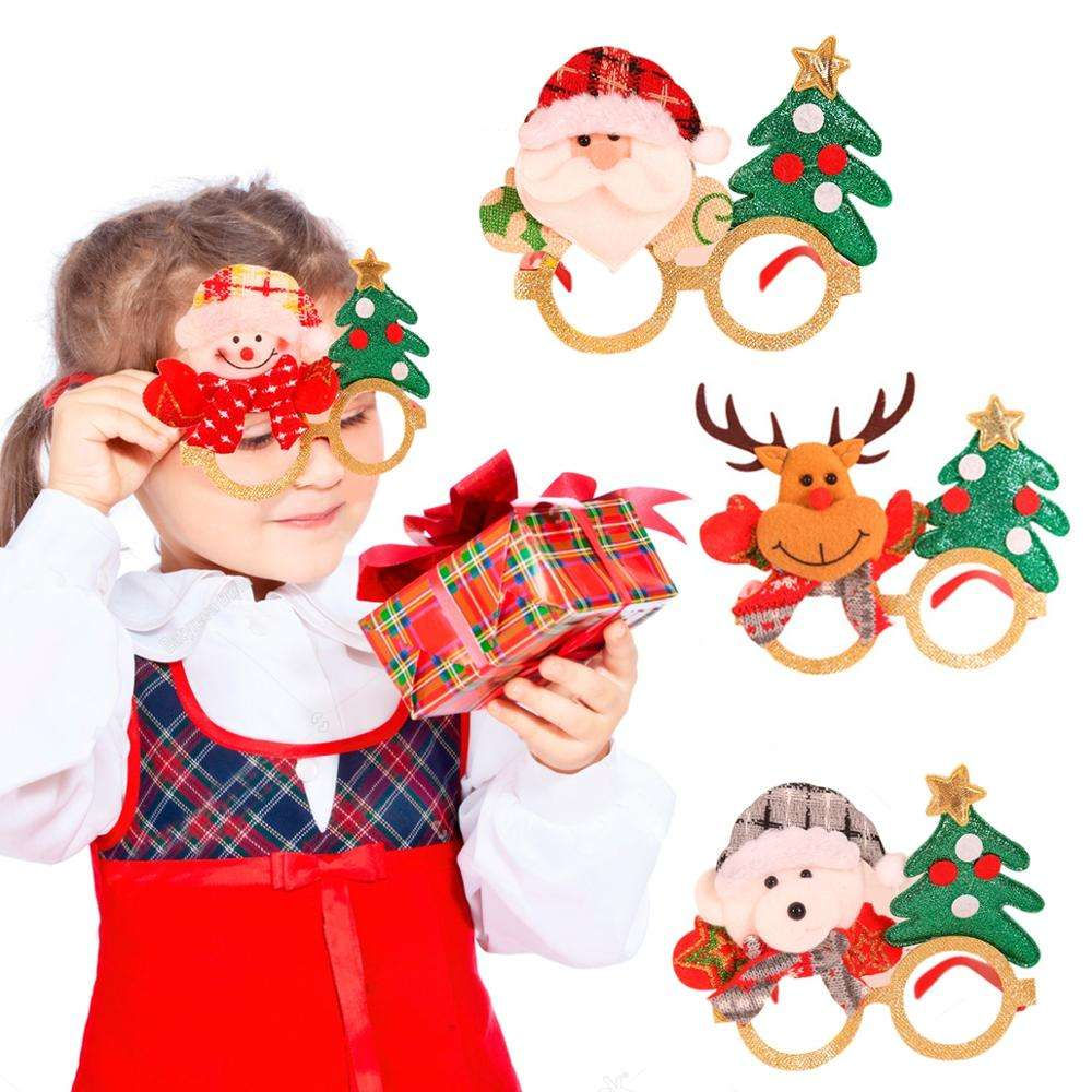 Christmas Decorations For Home Decor New Year Glasses Gifts For Children Deer Snowman Christmas Ornaments Glasses