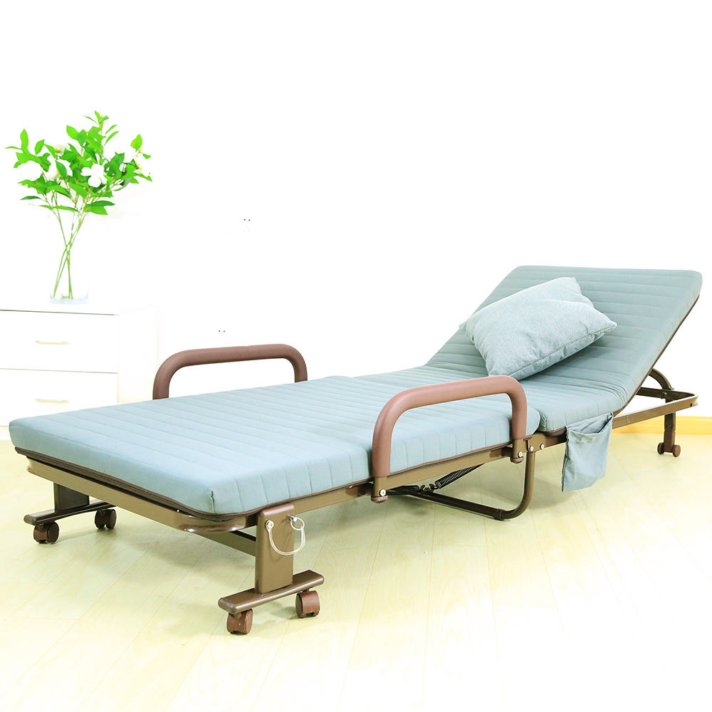 Hotel rollaway guest bed cot fold out bed portable folding bed metal frame with thick mattress for bedroom or office