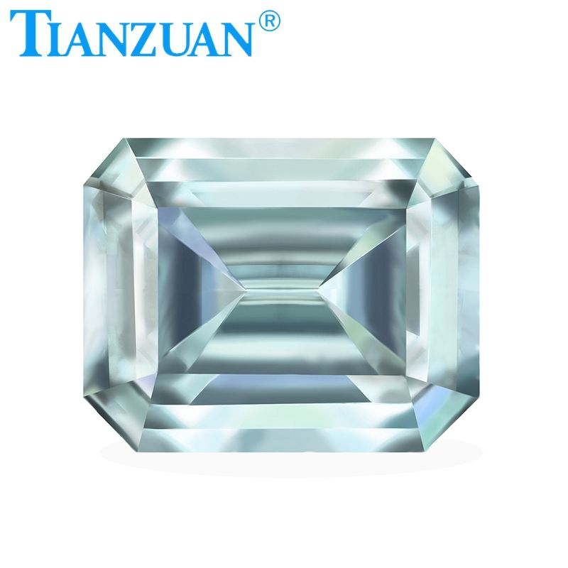 light blue color Moissanite stone emerald cut shape Sic material loose stone