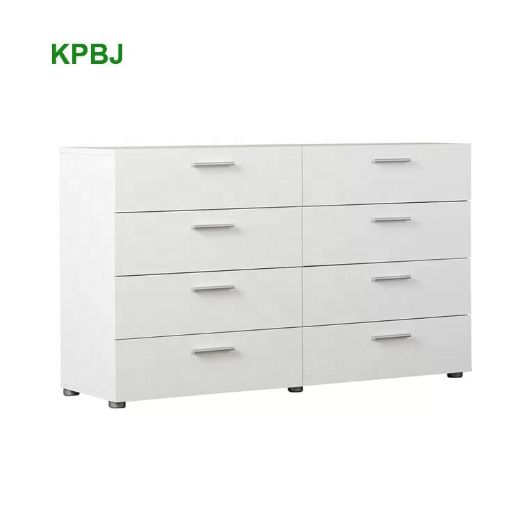 Top Selling Bedroom Furniture Melamine Mdf 8 Drawer White Dresser Double Dressing Table