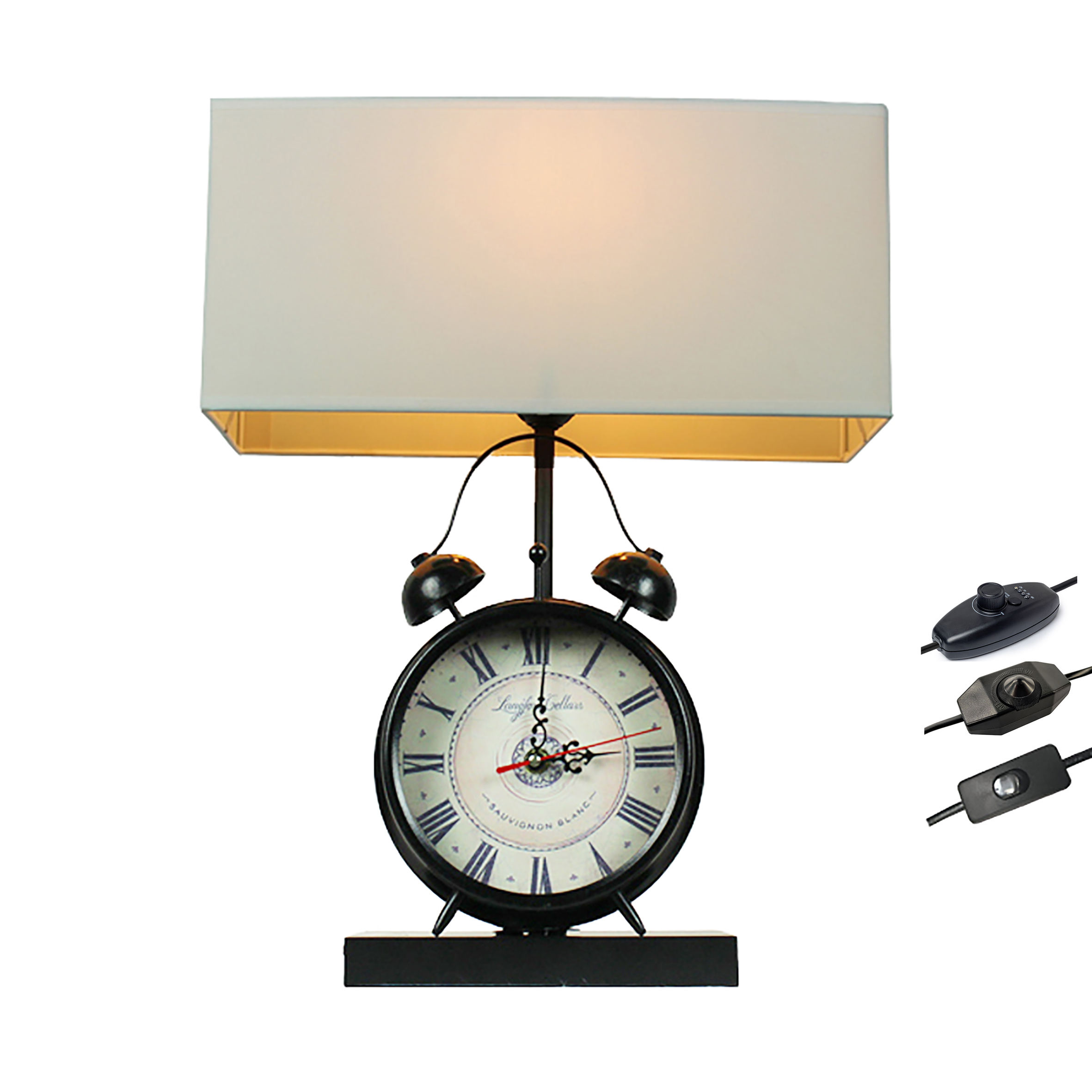 2020 New manufacturer wholesale manufacturer hot-sell Alarm clock table lamp cheap black clock lamp bedside lamp