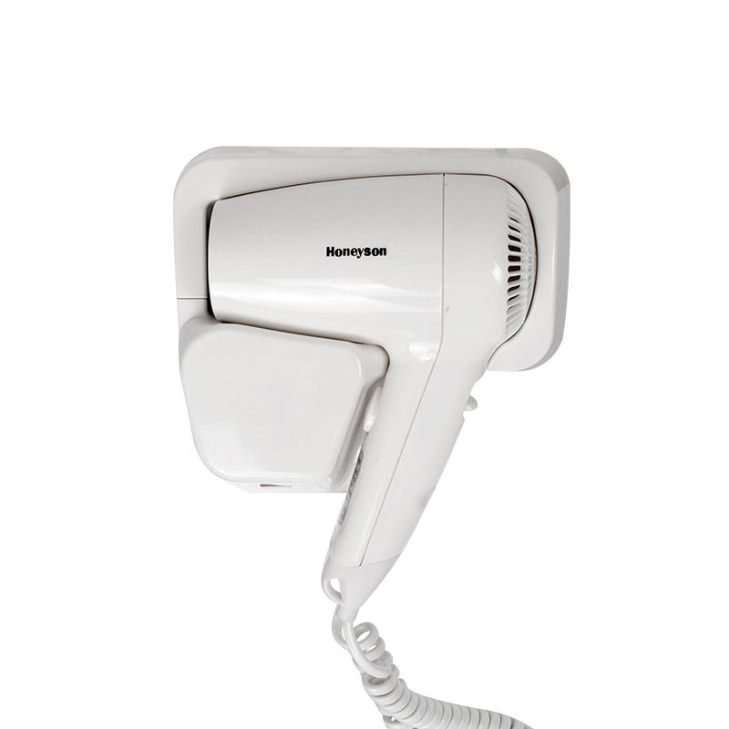 Honeyson hotel professional wall mounted classic white plastic hair dryer