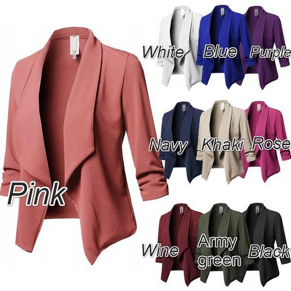 Explosive 10 color long-sleeved folds solid color women's small suits female coat women
