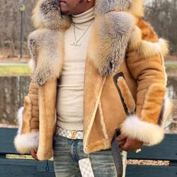 Winter Mens faux fur coat plus size fur collar long sleeves