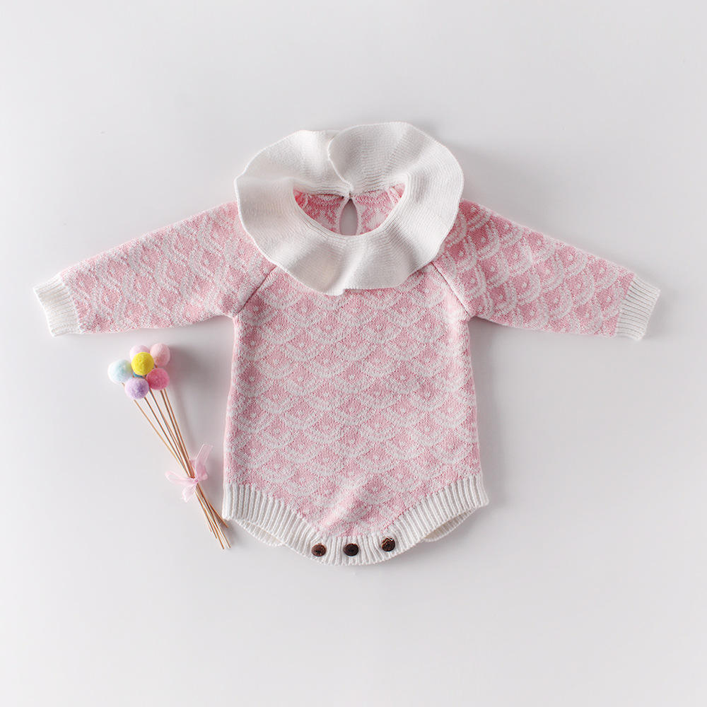Baby Girl's knit Rompers Long Sleeve Wool Knitted Rompers Baby Princess Jumpsuit Toddler Kid's Autumn Winter Clothing