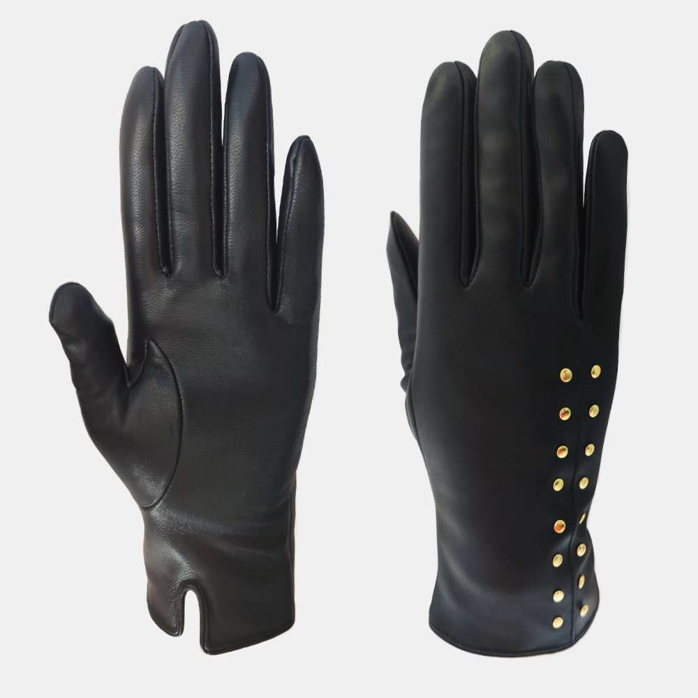 Wholesale New Design Women Genuine Sheepskin Black Tight Leather Gloves With In Stock