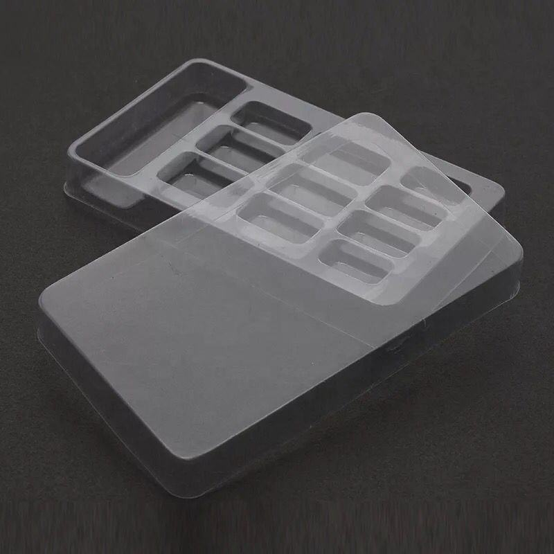Eco-friendly transparent PVC blister packaging women false nail plastic box for cosmetic