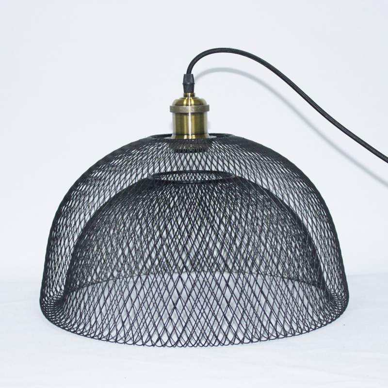 Modern Black Metal Mesh Chicken Wire Dome Lampshade For Ceiling Pendant Lights