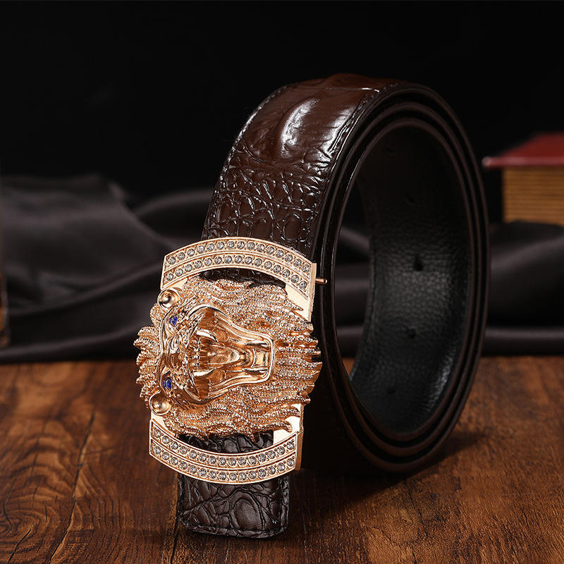 Crocodile Pattern Genuine Leather Belt Men, New-designed Lion Buckle Men Belts