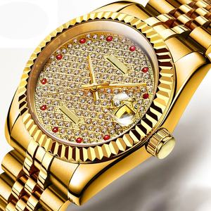 Gold Color Luxury Diamond Face Automatic Movement Watch Men Mechanical Watches wrist