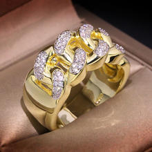 Hiphop Jewelry Luxury Fashion Cz Zircon Inlaid Men Gold Chain Ring Jewelry
